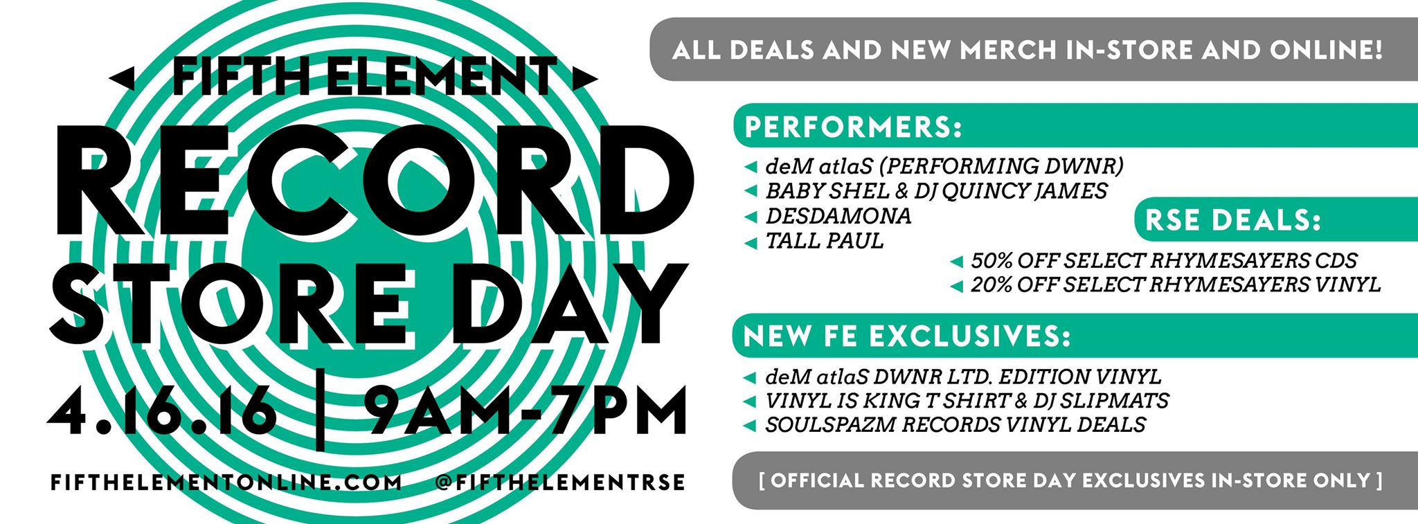 Fifth Element/Rhymesayers Record Store Day Event 2016 at